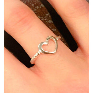 Open Silver Heart Ring-Sterling Silver Heart Ring, Twisted band ring