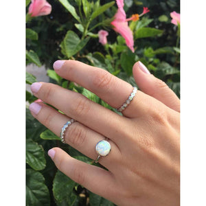 White Opal Eternity Band - Sterling Silver