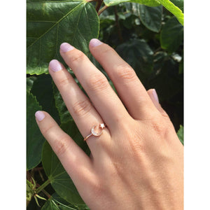 Moon & Star Ring-Rose Gold with CZ's