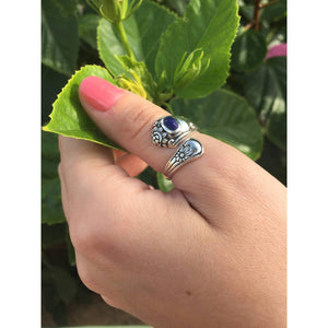 Spoon Ring-Blue Sodalite Spoon Ring-Sterling Silver Spoon Ring