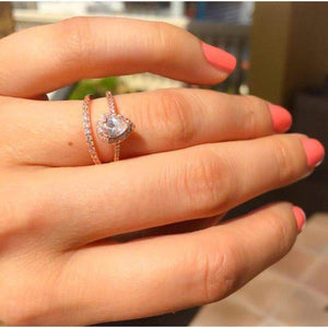 Rose Gold Engagement Ring & Band - Vintage look Wedding Set