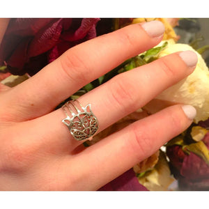 Sterling Silver Hamsa Ring-Hand of Fatima Hand of God