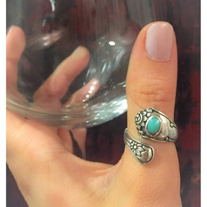 Turquoise Sterling Silver Spoon Ring