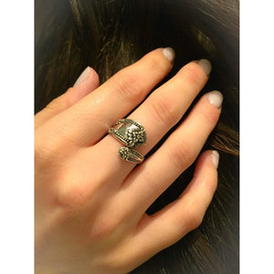 Sterling Silver Vintage Flower Spoon Ring