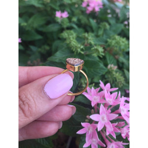 Rose Druzy Ring. Rose gold Rings,