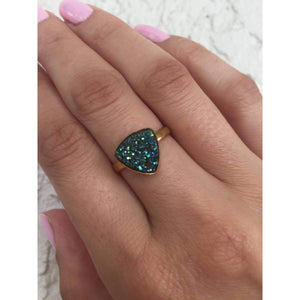 Druzy Ring-Sparkling Blue Green Druzy Ring