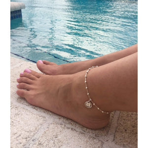 Sterling Silver Four Leaf Clover Lucky Anklet
