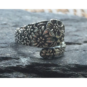 Sterling Silver Flower Spoon Ring