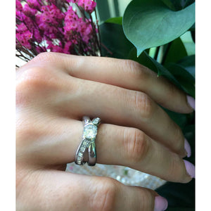 Diamond Engagement Ring-1/2 Carat Criss-Cross Engagement Ring