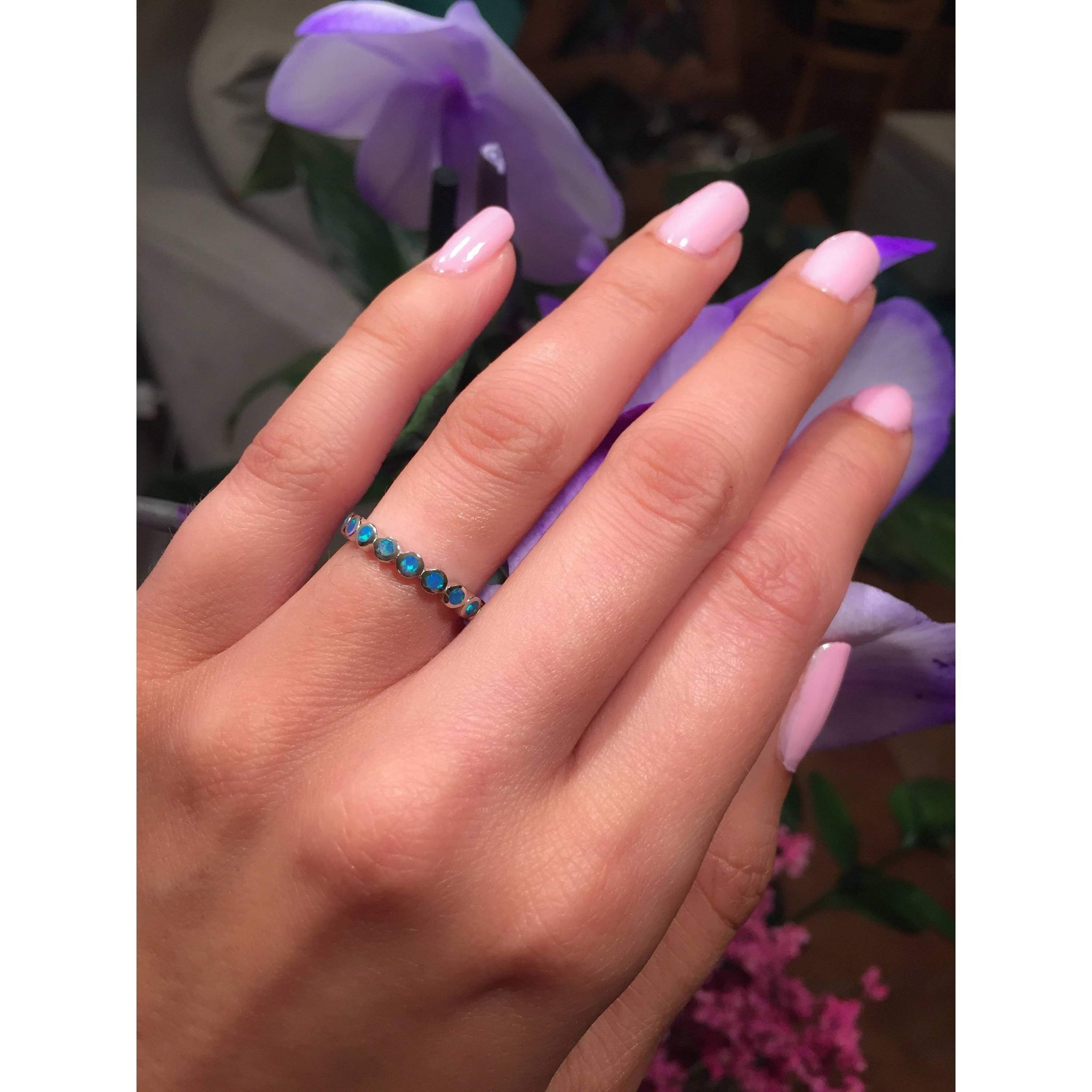 Blue Opal Ring-Opal Eternity Band-Opal Ring-Eternity Ring-Promise ...