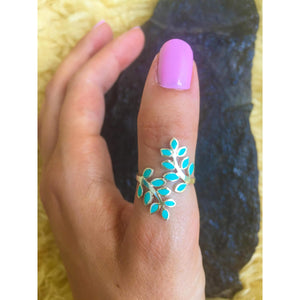 Turquoise Leaf Wrap Ring
