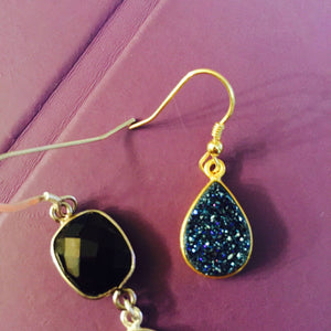 Dark Blue Druzy Earrings