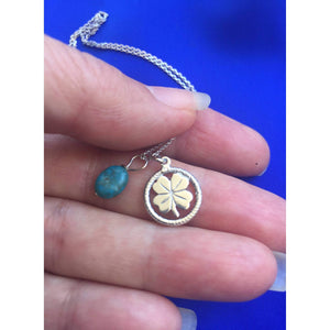 Four Leaf Sterling Silver & Turquoise Lucky Clover Necklace