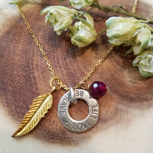 Circle Necklace , Feather Necklace ,Silver Disc Necklace,Garnet jewelry