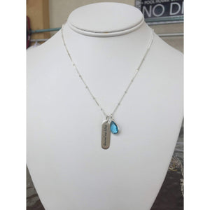Enjoy The Journey Inspirational Necklace with Blue Topaz