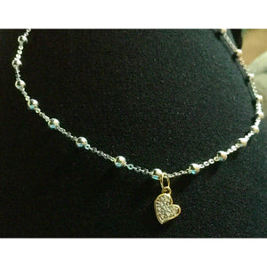 Sterling Silver Heart Ankle Bracelet with Diamond