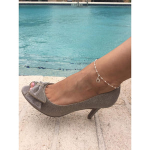 Horseshoe ankle bracelet,silver anklet with horseshoe charm Sterling silver anklet,