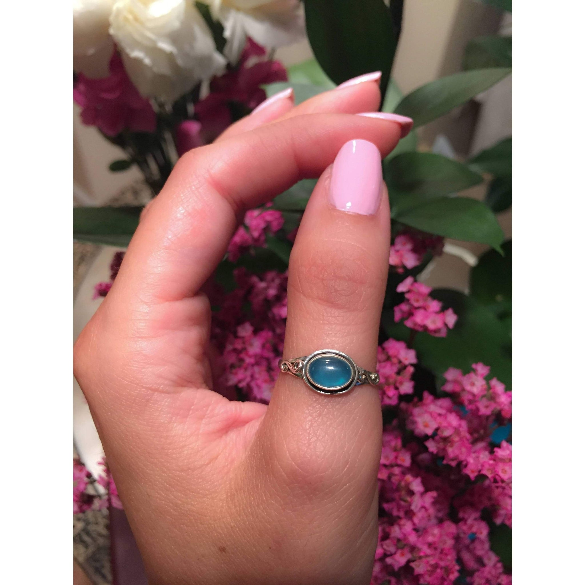 Blue Chalcedony Celtic Engagement Ring - Journeys Jewelry