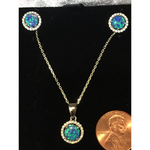 Opal Necklace and Earring Set-Blue Opal Necklace-Sterling Silver