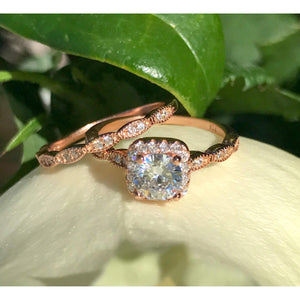 Rose Gold Art Deco Engagement Ring Set