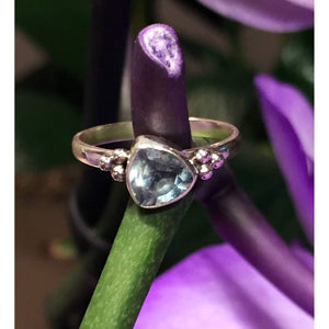 Genuine Blue Topaz Gemstone Ring