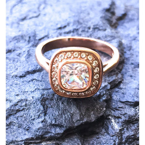 Cushion Cut Vintage Style Rose Gold Ring