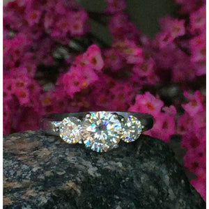 CZ Engagement 3 Stone Ring