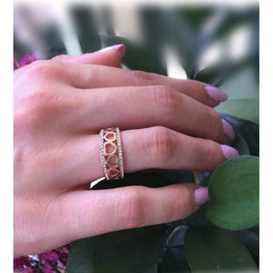 Rose Gold CZ Heart Eternity Band