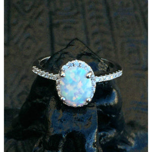 White Fire Opal Ring