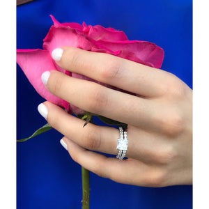 Princess Cut Diamond Ring Set-Square Engagement Wedding Set