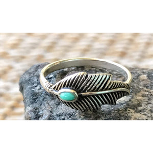 Turquoise Feather/Leaf Ring