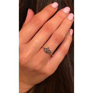 Sterling Silver Small Lotus Ring