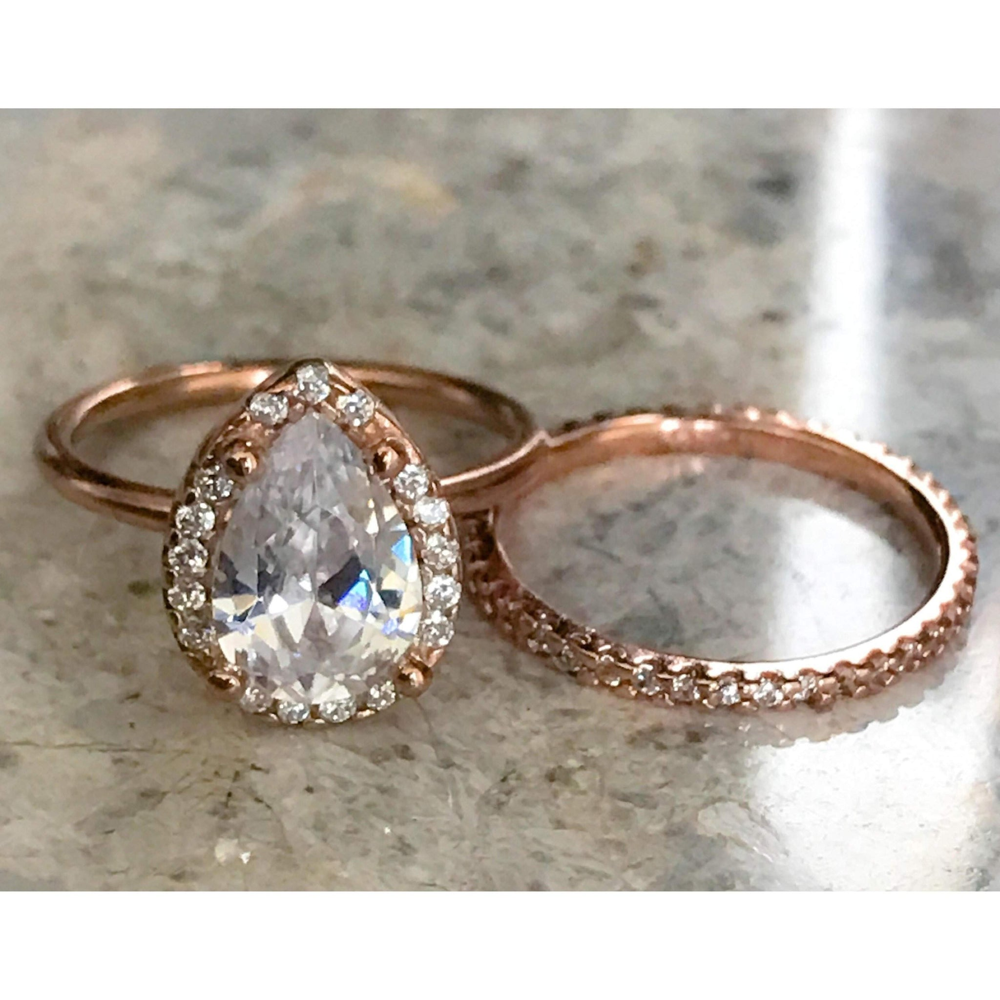 cd9b2e60ff363 Rose Gold Teardrop Engagement Ring and Eternity Band Set
