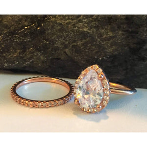 Rose Gold Teardrop Engagement Ring and Eternity Band Set