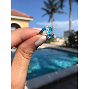 Blue Opal Wave with Sterling Silver Ring