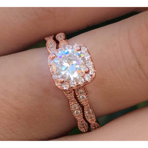 Rose Gold Engagement Set Art Deco Ring Set Vintage Wedding Set Halo CZ
