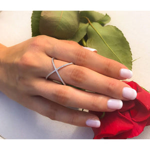 CZ Sterling Silver Criss Cross X Ring