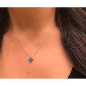 Blue Opal Cross Necklace & Earring Set