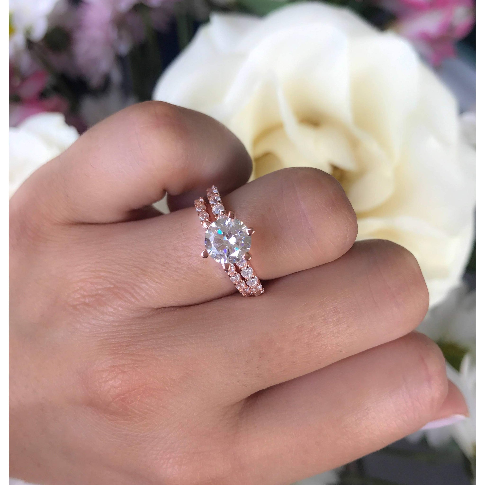 Rose Gold Wedding Rings-2 Carat Diamond Engagement -Solitaire ...