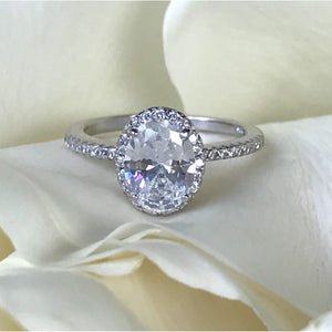 Oval Sterling Silver Halo Engagement Ring