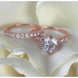 Rose Gold Wedding Rings-2 Carat Diamond Engagement -Solitaire Engagement Ring
