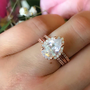 Rose Gold Pear Engagement Ring - Large Teardrop Wedding Set