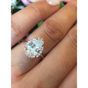 Large Teardrop Diamond Engagement Ring - Rose Gold