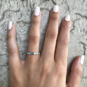 CZ Diamond & Aqua Gemstone Eternity Band Ring