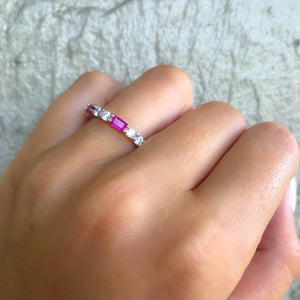 CZ Diamond & Ruby Eternity Band