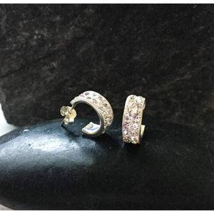 Diamond Cubic Zirconia Huggie Hoop Earrings