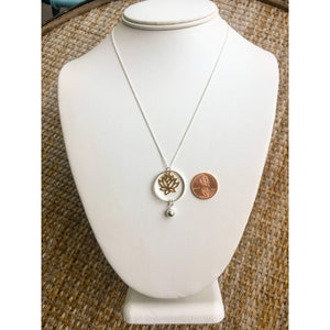 Gold Lotus Necklace-Sterling Silver Circle Necklace,Large Lotus Necklace