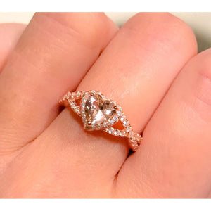 Morganite Heart Ring-Rose Gold Infinity Heart and CZ Ring
