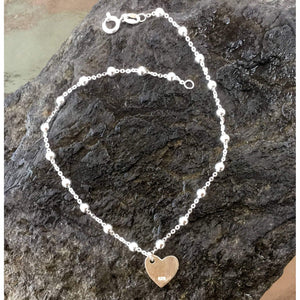 Beaded Anklet-Sterling Silver Ankle Bracelet-Hammered heart