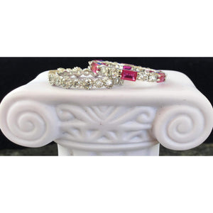 Wedding Eternity Bands-CZ Eternity Rings with Ruby Gemstone